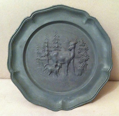Vintage Pewter Wall Plate with Embossed Design of a Dear