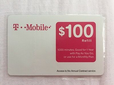 T Mobile $100 Prepaid Refill Card (1000 Minutes)