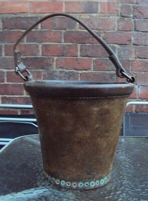 Vintage Early Leather Fire Bucket Complete With Handle - Possibly Victorian