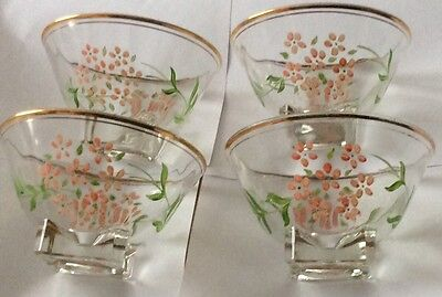 Vintage Glass Fruit Bowls/ Hand Painted/ Tea Party