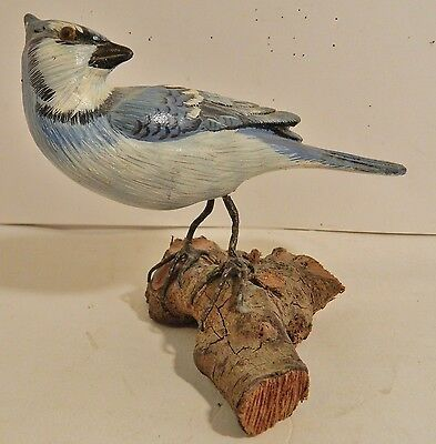 Hand Carved Wooden Blue Jay