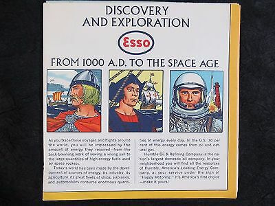 1963 ESSO DISCOVERY AND EXPLORATION MAP POSTER ~1000 AD To Space Age~ 35x24 vtg