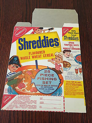1950's Pirate Kids Vintage Cereal Box Shreddies Never Used Fishing Kit Offer