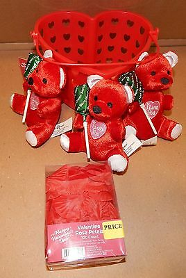 Valentine's Day Gift See's Candy Mint Suckers 3 Bears Rose Petals & Bucket 103B