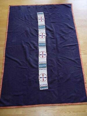 "c1890 Sioux Beaded Blanket Strip 61""x 5 1/2"" Blue Stroud Trade Cloth  48"" x 72"""