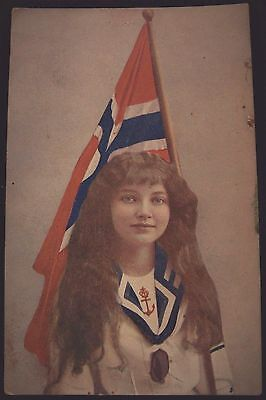 Postcard Norway Flag and Beautiful Girl with Long Hair
