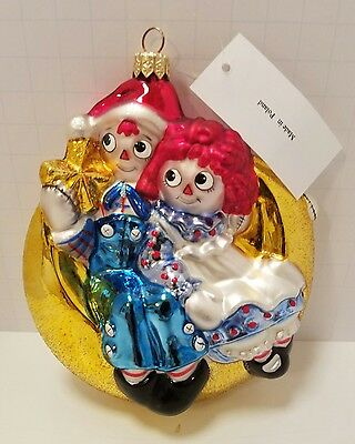 Poland Raggedy Ann & Andy on Moon Glass Christmas Ornament