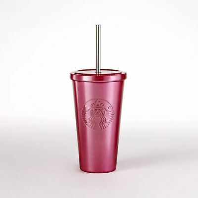 NEW Starbucks Pink Stainless Steel Tumbler Cold Cup 16 oz VALENTINES DAY GIFT