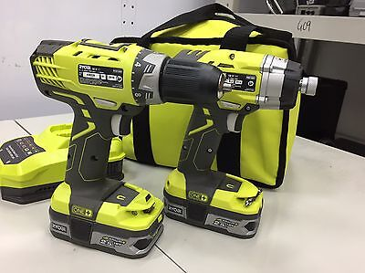 Ryobi One + 18V Lithium-ion Impact Driver, Drill, 2 x Batts, Charger In Case