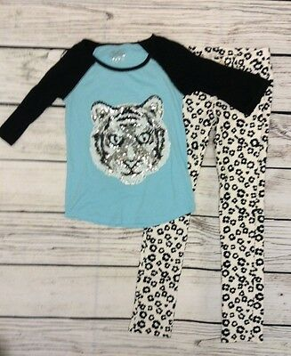 Girls Outfit Size 10 Justice Top & Gymboree Animal Print Pants Guc