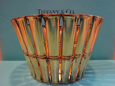 Tiffany & Co Makers sterling silver bamboo open work bowl centerpiece vermeil