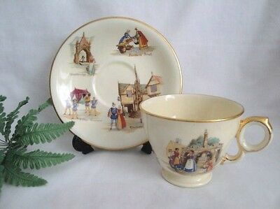 "Royal Winton Cup & Saucer England ""Old English Markets"" Hard to Find"