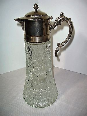 Vintage CRYSTAL SILVERPLATE PITCHER with inner ice tube