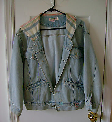 Rare VTG 80s Guess Jeans Denim Georges Marciano Jacket with Zipper Hood~Small