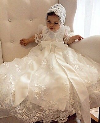Gorgeous Noble Christening Dress Lace Beaded Baby Girl Baptism Gown + BONNET