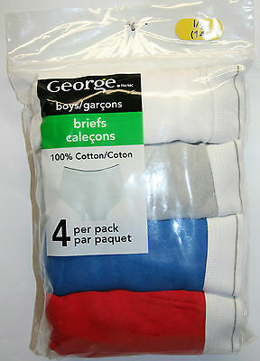 NEW - 4 Pack of George 100% Cotton Size Large (14) Boys Briefs Assorted Colors