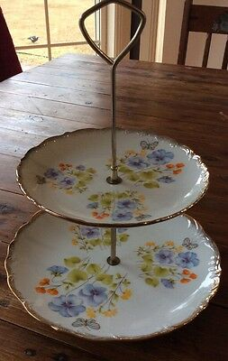 Cake Plate Stand Japan Floral Vintage Collectable High Tea