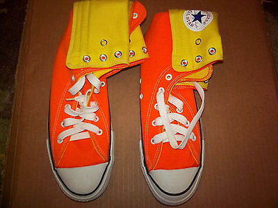 Converse Orange Extra High Fold Snap Down High Top Mens Sz 9 Vintage Shoes LOOK