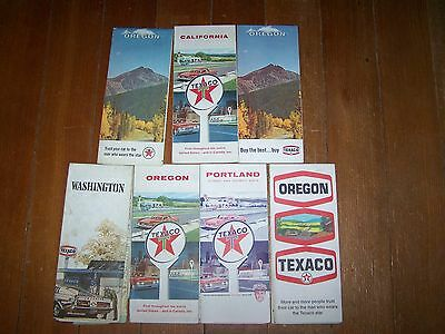 7 1960's Vintage Texaco Oil Company Road Gas Station Maps