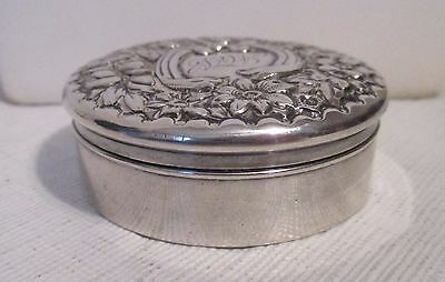 antique Gorham sterling snuff/pill/vanity box Repousse lid with many flowers