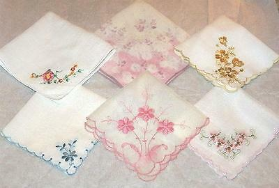 PRETTY Vintage Embroidered Handkerchief Hanky Lot of 6 Hankies