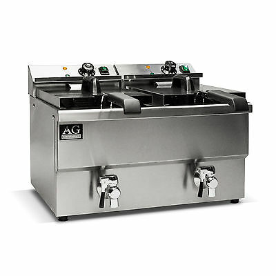 Brand New Twin Basket Electric Commercial Deep Fryer With Tap  24L 15 AMP Power