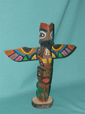 Northwest Coast Totem Pole Hand Crafted by Chief White Eagle 8.5""