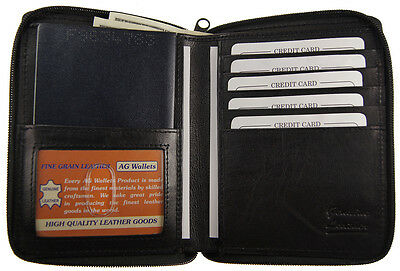 Genuine Leather Travel Zip Around Bifold Passport Cover Wallet Purse ID window