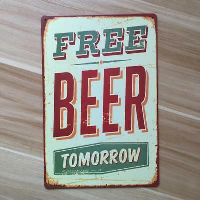 20x30cm Retro Metal Tin Sign Plaque Wall Poster Cafe Bar FREE BEER TOMORROW