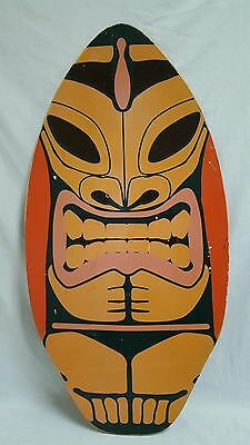 Tiki Hawaiian Tropical Bar Mancave Wooden Surfboard Sign 37""