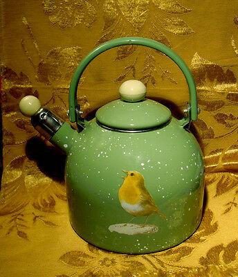 Enamel Hand Painted Kettle Bird Signed Mb Whistle