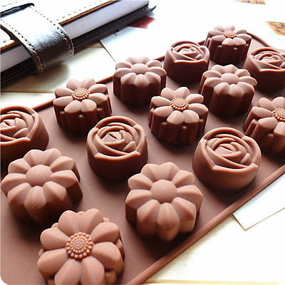 15-Cavity Silicone Flower Rose Chocolate Soap Mold Ice Baking Cake Tray Mould