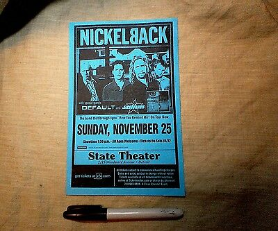 Rare Nickelback Default Detroit 11/25/01 Concert Tour Flyer! With FREE SHIPPING!