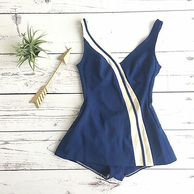 Vintage 50's Robby Len One Piece Swimming Suit Nautical Blue & White Swimwear