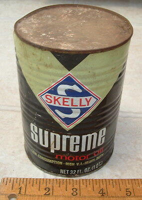 Vintage Skelly Supreme Motor Oil Quart Tin Can Empty Gas Station Advertising