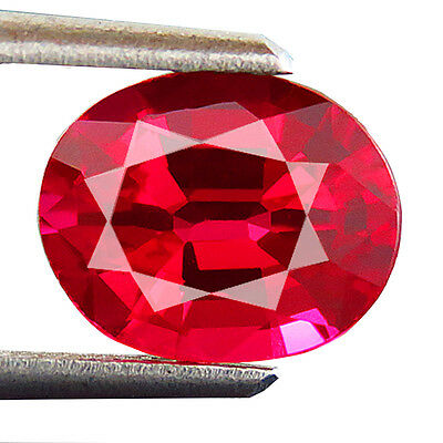 1.85ct Lab-created Natural Crown DOUBLET RUBY OVAL Fine Thai Cutting 6.5 x 8 MM