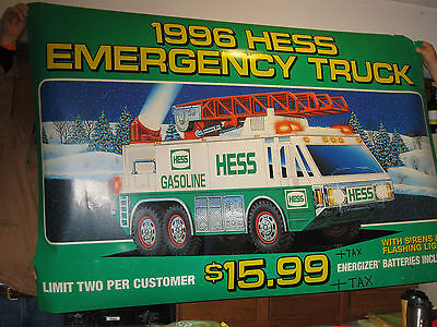 """Huge 6'2"""" x 4' Vintage 1996 Hess Toy Truck Sign RARE & HIGHLY COLLECTABLE!"""