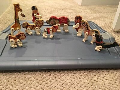 Vintage 1962 FISHER PRICE Circus Ring Animals Lot of 10 & 1 Ball SEAL TIGER BEAR