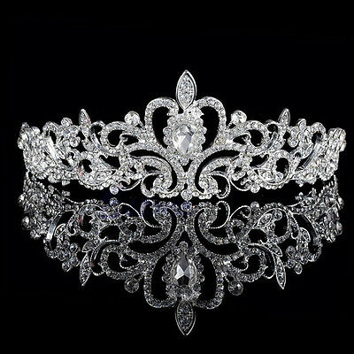 Elegant Wedding Party Princess Crystal Prom Hair Tiara Crown Veil Headband