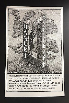 Edward Gorey *Shakespeare - Hamlet* Poster Illustrated by Gorey - RARE