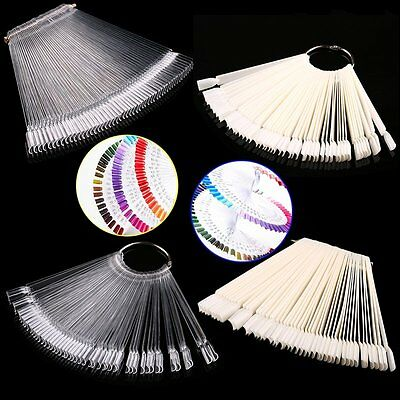 50pcs False Display Nail Art Fan Wheel Polish Practice Tip Sticks Nail Art RO