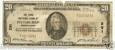 $20.00 Circulated 1929 NATIONAL BANK NOTE Pittsburgh, PA. Charter #291 Type 1