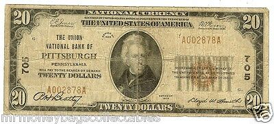 $20.00 Circulated 1929 NATIONAL BANK NOTE Pittsburgh, PA. Charter #705 Type 1