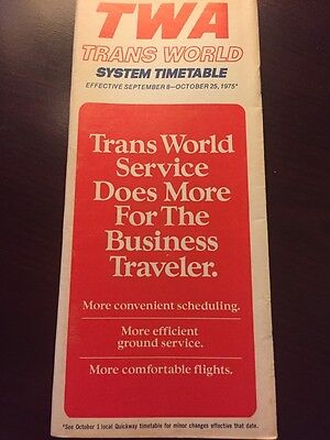 TWA Air Lines Airlines System Timetable September 1975