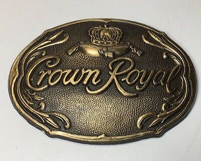 Vintage 1970s NOS Crown Royal Whiskey Brasstone  Belt Buckle New