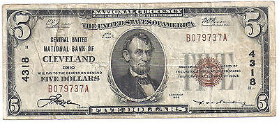 $5.00 Circulated 1929 NATIONAL BANK NOTE Cleveland, OH. T1 Charter #4318