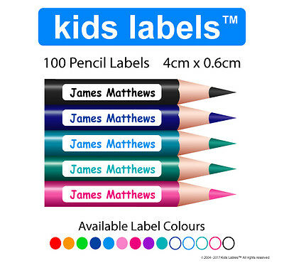 Kids Labels -  Qty 100 x Pencil Labels  Back to School  Personalised Stickers