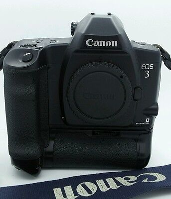 Canon EOS-3 Body w/Battery Grip Only 35mm Film Camera in LIKE NEW condition