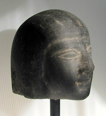 Egyptian Style Black Basalt Carved Head of a Woman