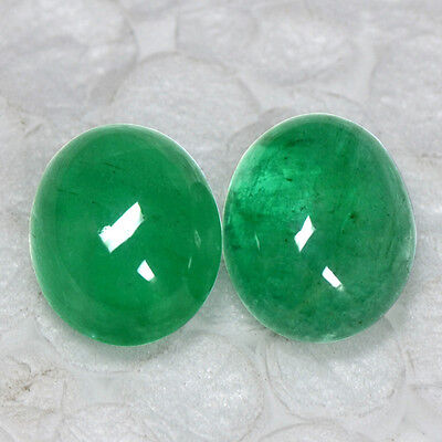 5.85 Cts Natural Fine Emerald 10 x 8 mm Loose Gemstone Oval Cabochon Pair Zambia